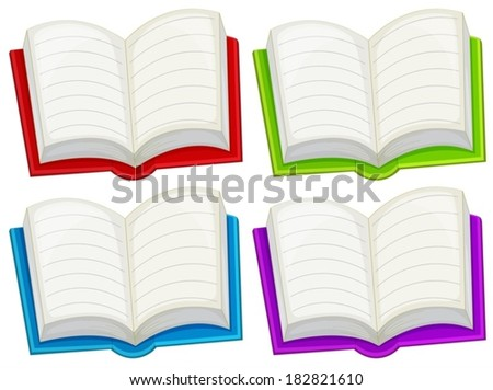 Illustration of the colorful empty books on a white background