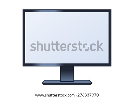 Illustration of the computer lcd monitor on white background - stock vector