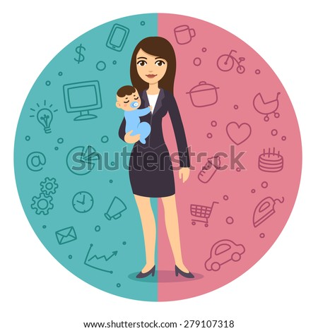 Illustration of the concept of life and work balance: young and pretty cartoon businesswoman in suit holding a baby boy. Background is divided in two theme patterned parts. - stock vector