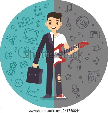 Illustration of the concept of life and work balance. Young businessman in suit on the left and with a guitar on the right. Background is separated into two thematic parts. - stock vector