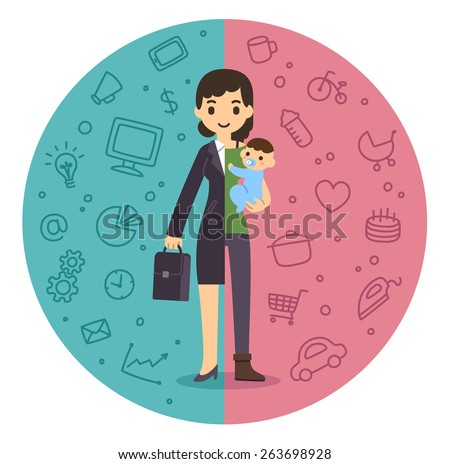 Illustration of the concept of life and work balance. Young businesswoman in suit on the left and with baby on the right. Background is divided in two thematic patterned parts. - stock vector