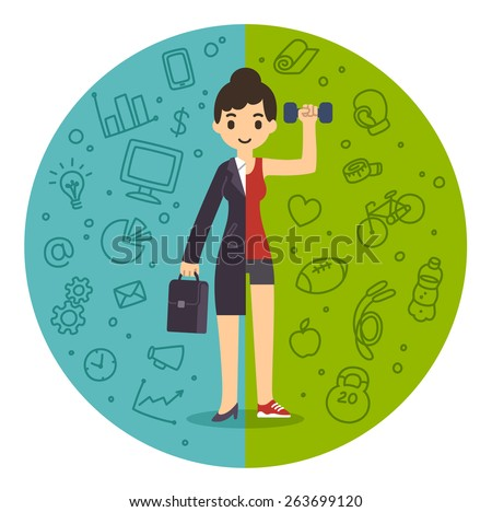 Illustration of the concept of life and work balance. Young businesswoman in suit on the left and in fitness gear with a dumbbell on the right. Background is divided in two thematic patterned parts. - stock vector