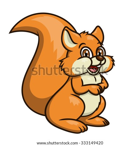 Illustration of the cute smiling squirrel on white background - stock vector