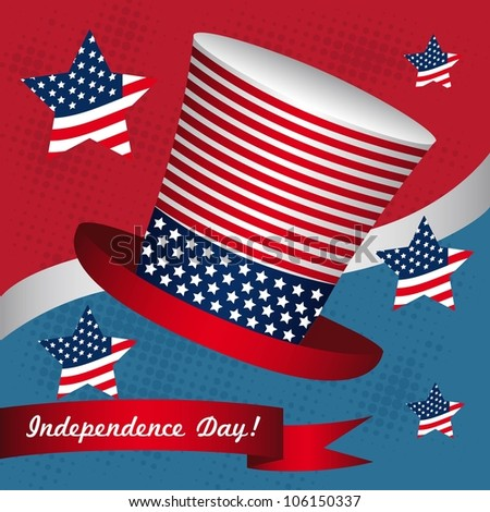 Illustration of the day of United States independence, July 4
