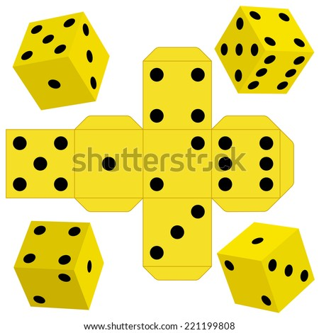Illustration of the dice cubes and template - stock vector