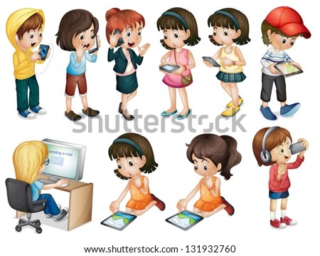 Illustration of the different activities of young women on a white background - stock vector
