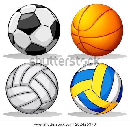 Illustration of the different balls used in sports on a white background