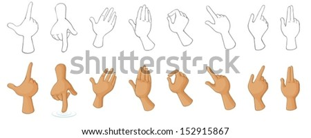 Illustration of the different hand gestures on a white background