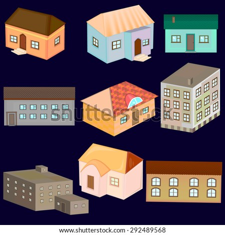 Illustration of the different houses. House set - colourful home  collection. Private residential architecture. - stock vector