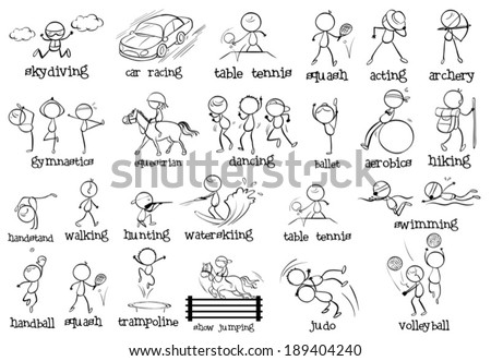Illustration of the different indoor and outdoor sports on a white background - stock vector