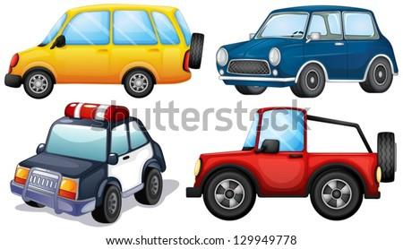 Illustration of the different kinds and colors of cars on a white background - stock vector