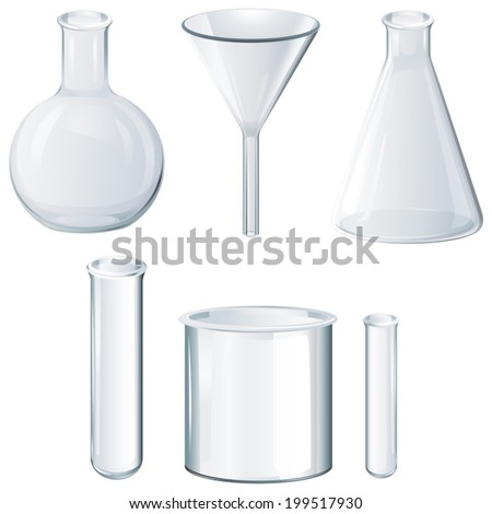 Illustration of the different laboratory equipments on a white background - stock vector