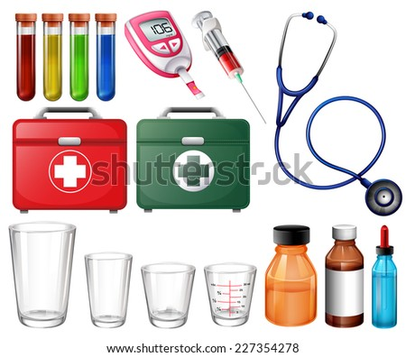 Illustration of the different medical sets on a white background  - stock vector