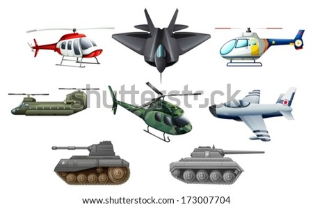 Illustration of the different war transportation objects on a white background - stock vector