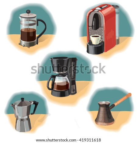 illustration of the different ways to make coffee