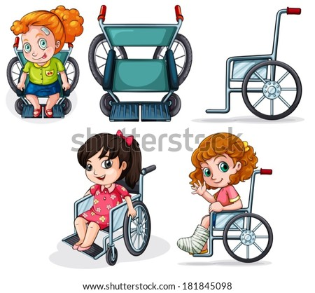 Illustration of the different wheelchairs on a white background - stock vector