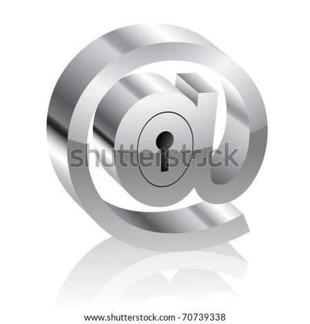 Illustration of the E-mail symbol with lock. Internet security concept. Vector. - stock vector