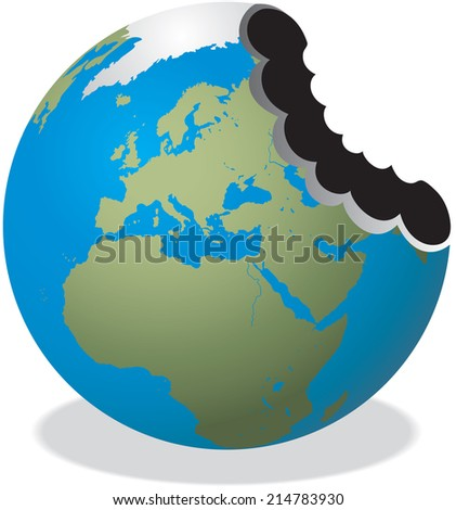 Illustration of The Earth with a huge bite missing  - stock vector