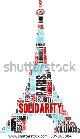 Illustration of the Eiffel Tower with a wordcloud filled with words related to Paris's Killings and solidarity.