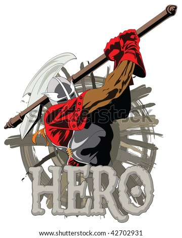 Illustration of the fantasy knight swinging a axe - stock vector