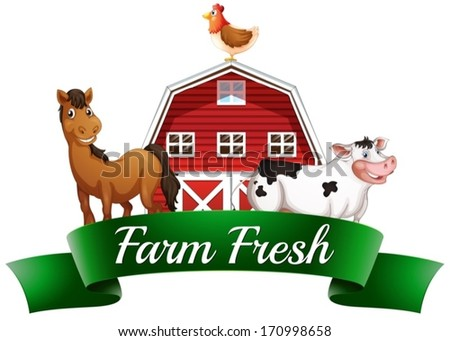 Illustration of the farm animals, a barnhouse and a signboard on a white background - stock vector
