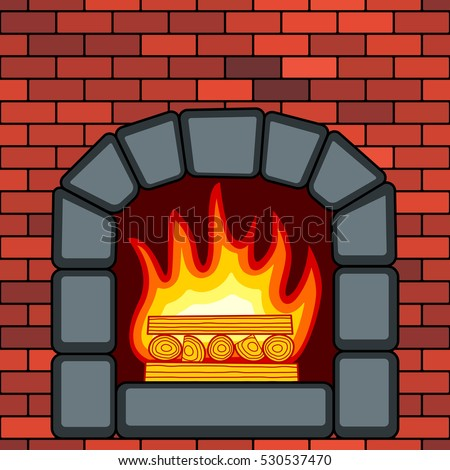 Illustration of the fireplace in brick wall