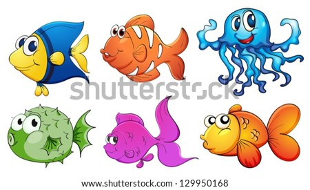 Illustration of the five different kinds of sea creatures on a white background - stock vector