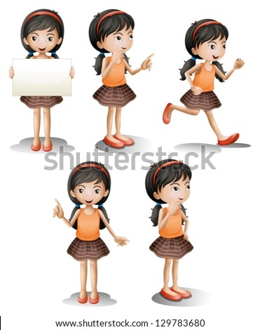 Illustration of the five different positions of a girl on a white background - stock vector