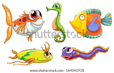 Illustration of the five sea creatures on a white background - stock vector