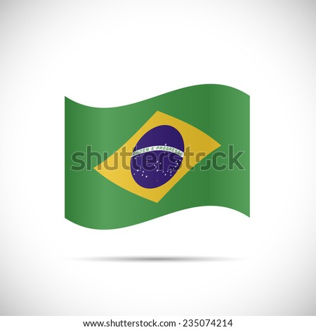 Illustration of the flag of Brazil isolated on a white background. - stock vector