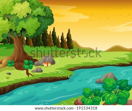 Illustration of the flowing river at the forest - stock vector