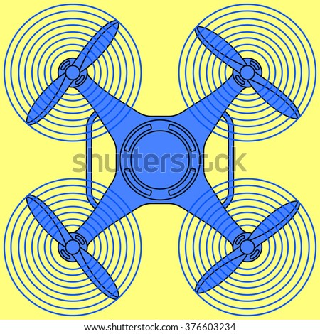 Illustration of the flying quadcopter drone icon - stock vector