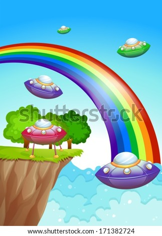 Illustration of the flying saucers in the sky near the rainbow - stock vector