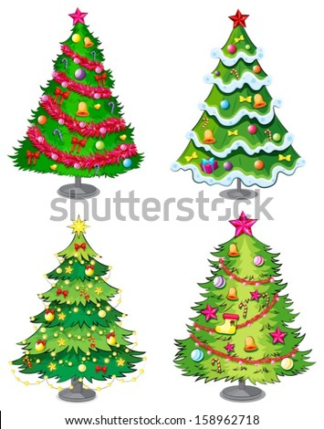 Illustration of the four christmas trees on a white background - stock vector