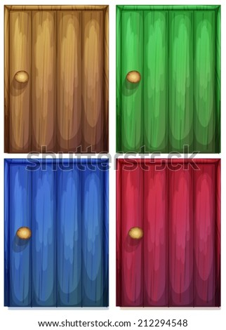 Illustration of the four colourful doors on a white background - stock vector