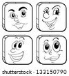 Illustration of the four different kinds of square faces on a white background - stock vector