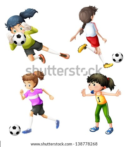 Illustration of the four girls playing soccer on a white background - stock vector