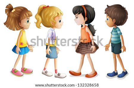 Illustration of the four kids facing each other on a white background - stock vector