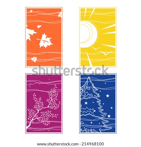 illustration of the four seasons in different colors - stock vector