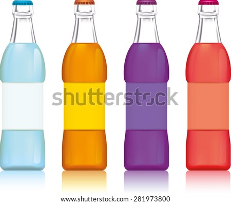 Illustration of the four water bottles on a white background - stock vector