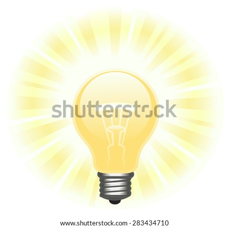 Illustration of the glowing light bulb on white background - stock vector