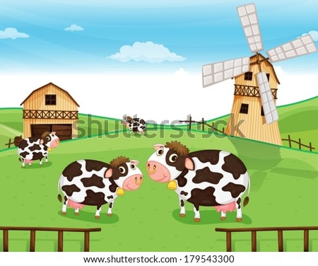 Illustration of the goats at the farm with a windmill