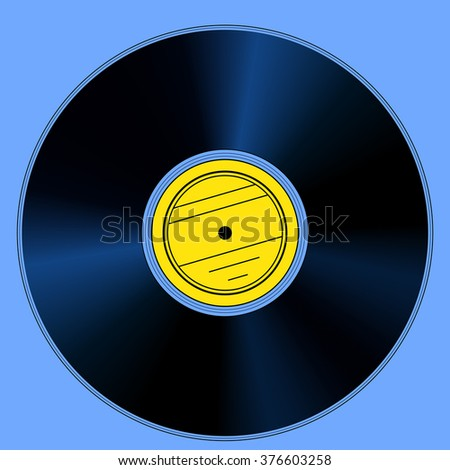 Illustration of the gramophone record disk - stock vector