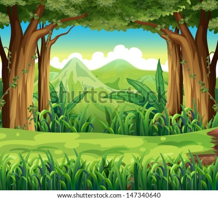 Illustration of the green forest - stock vector