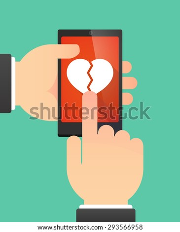 Illustration of the hands of a man using a phone showing a broken heart - stock vector