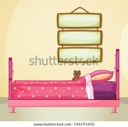 Illustration of the hanging signboards inside a room with a pink bed - stock vector