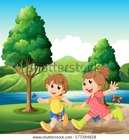 Illustration of the happy and energetic kids playing near the river - stock vector