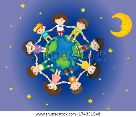 Illustration of the happy kids surrounding the Earth - stock vector
