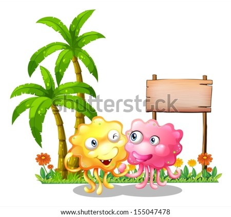 Illustration of the happy monsters near the empty signage beside the palm trees on a white background - stock vector