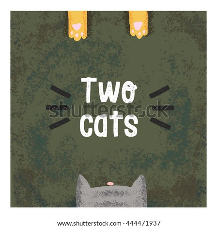"Illustration of the head and paws of cats. Logo ""Two cats"" for postcards, flyers."